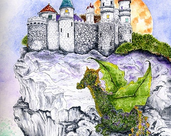 Enchanted Castle on a Cliff and Young Dragon Full Moon Print Fairytale Fantasy Art Watercolour and Ink Illustration