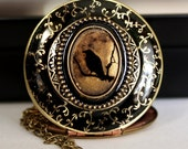 The Raven Halloween Jewelry Edgar Allan Poe Inspired Design Halloween Necklace Halloween Costume Jewelry Black Bird Locket Gothic Necklace
