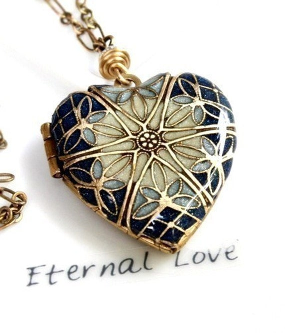Jewelry, Necklace, Pendant, Personalized Gift For Her, Locket Necklace, Blue Heart, Christmas Jewelry