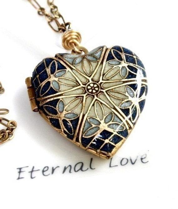 Locket, Resin Locket, Blue Locket, Wedding Necklace, Jewelry, Blue Necklace, Heart Locket