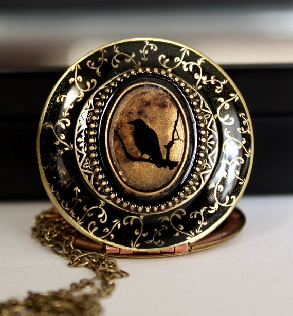 Women's Locket, Edgar Allan Poe Inspired, Holiday Jewelry, Gift For Her, Black Bird Necklace, Upcycled Vintage Locket