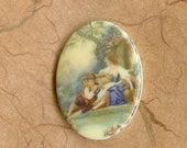 Two Vintage German 40x30mm Romantic Lovers Acrylic Cabs (59-14F-2)