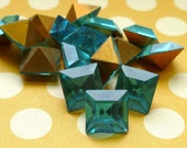 12 Aquamarine 8x8mm Glass Cabochon Rhinstone Jewels  (3-5F-12)