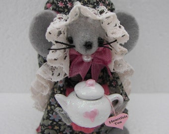 Felt Mouse  -Miniature Handmade Felt Animals - Gray and Pink Mouse with Teapot - Tillie Teatime Mouse Gift for Mom or Grandma
