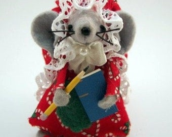 Student Mouse Christmas Ornament cute felt mice gift for animal lovers and collectors by Warmth
