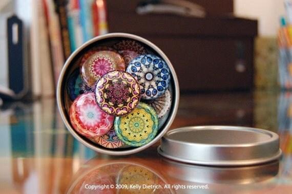 Mandala Magnet Set (9 Magnets) - Create Your Own Magnet Set -  Colorful Fridge Magnet Set