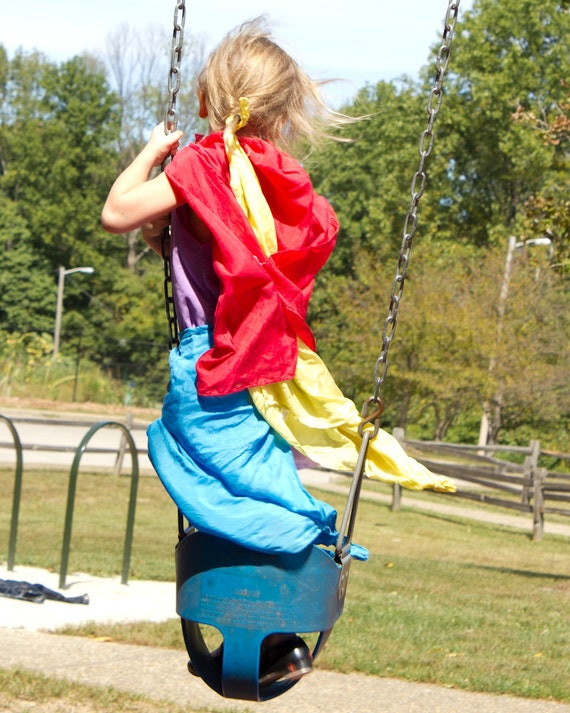 "Play Silks in Red, Yellow, and Blue: Set of Three 30"" x 30"" Primary Colors Silks"