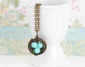 Bird Nest Necklace, Turquoise Eggs in Wire Wrapped Bird Nest, Gift For Mom, Expectant Mom, Gift For Mom, Gift For Woman, Valentines Gift