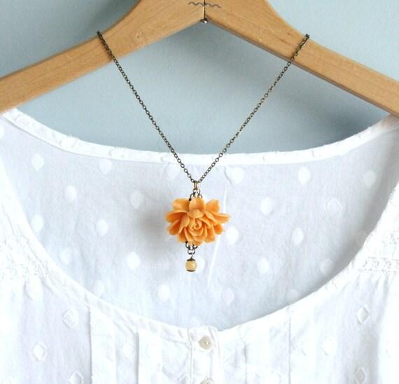 Statement Necklace, Rose Necklace , Apricot Orange, Flower Necklace, Large Rose, Gift For Mom