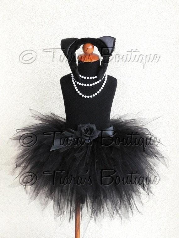 "Black Cat Tutu Halloween Costume - Obsidian Kitty - Black Custom Sewn 3 Tiered 15"" Pixie Tutu w/ Cat Ears & Tail - Up to size 5T"