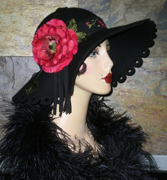 One of a Kind Black Scallop Circle Brim CLOCHE HAT Floral Vintage 1920s Inspired FLAPPER Gatsby Derby
