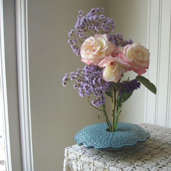 draped doily vase handmade pottery ikebana