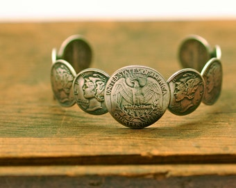 Liberty Cuff Bracelet old silver US coins