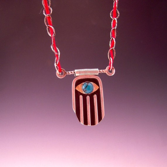 Hamsa  Chai Five Necklace sterling  turquoise Kabbalah