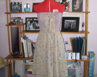 Vintage Floral Strapless Dress with Gather Detail
