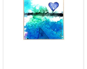 """Heart Watercolor Painting, Art, """"Little BLUE HEART 2"""" Original Contemporary Modern art painting  by Kathy Morton Stanion EBSQ"""