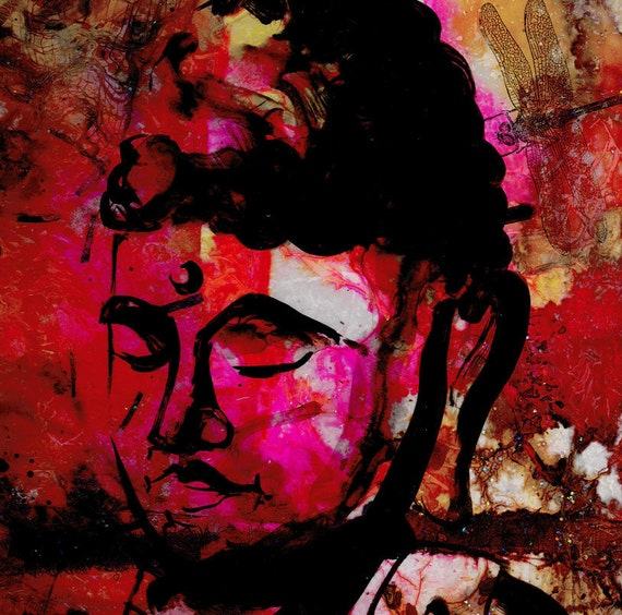 Quietness  -  Large Original Mixed Media Buddha art OOAK painting by Kathy Morton Stanion EBSQ