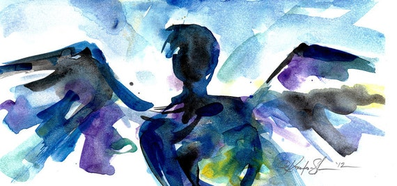 Angel Sketch 6 - Original abstract watercolor painting By Kathy Morton Stanion EBSQ
