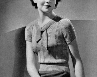 Vista - Vintage 1930s Sweater Blouse Knitting Pattern - PDF e-Book