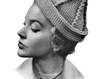 Pierrot - Vintage Crocheted Hat Pattern - 1940s 50s - PDF eBook