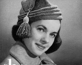 1940s Vintage Hat Pattern - Knitting - L'Habitant Cap - PDF eBook