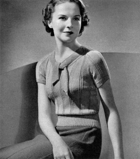 Vista - Vintage 1930s Sweater Blouse Knitting Pattern - PDF e-Book