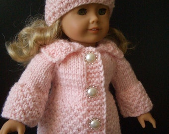 Knitting Pattern with VIDEO for AMERICAN GIRL 18 inch doll Beginner level Cotton Candy (019)