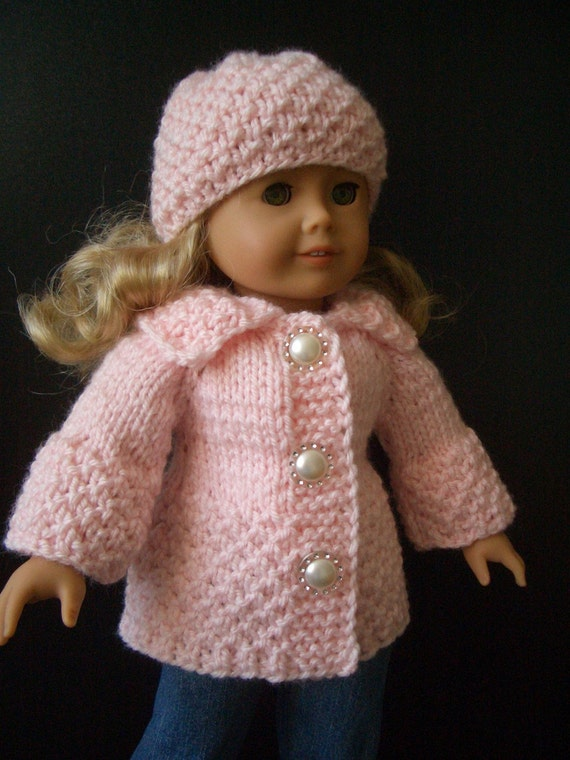 Knitting Pattern 13 Inch Doll : Knitting Pattern with VIDEO for AMERICAN GIRL 18 inch doll Beginner level Cot...