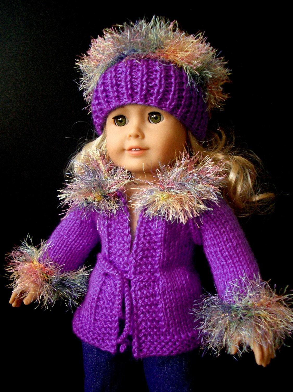 beginner level KNITTING Pattern for American Girl 18 inch Doll