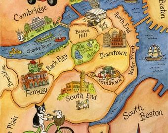 "Map of Boston Massachusetts Art Print 11""x 14"""