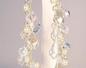 Cream & Crystal Teardrop Earrings, long full drop chandelier wedding bridal, ivory, light ivory, diamond white, cameo, cashmere, champagne