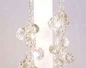 Clear & Silver Crystal Chandelier Bridesmaids Earrings, Full Cluster, mercury crystals, gray, grey, graphite, carbon, stormy, charcoal