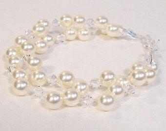 Cream & Crystal Wedding Bracelet, two strand illusion , double strand, ivory, butter, floating jewelry, off white, diamond, soft ivory