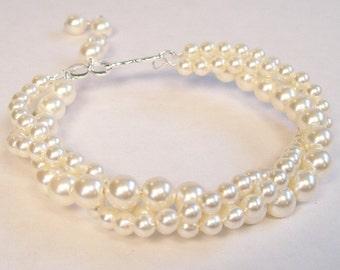 Cream Bridal Bracelet, Chunky Cuff Wedding Jewelry, Ivory 3 Strand Twisted Pearl Bracelet, soft ivory, off white, diamond, light ivory cream