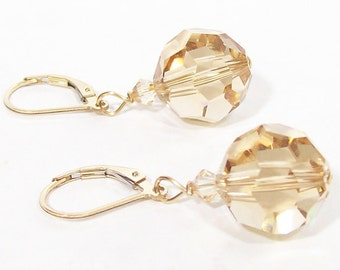 Chunky Champagne Crystal Drop Earrings, Large Round, Bridesmaid Jewelry, light brown, chocolate, latte, cashmere, candlelight, cafe coffee