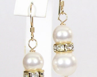 White Pearl Rhinestone Wedding Earrings, Gold metal, Bridal Jewelry, Diamond White, Rhine Studed, soft white, elegant earrings, wedding jewe