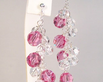 Crystal & Pink Bridesmaids Earrings, Rose Wedding Jewelry, Pink Bridesmaids Chandeliers, Tea Rose Jewelry, raspberry, mauve, misty rose