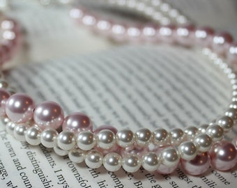 Light Pink blush & White Twisted Pearl Bridal Necklace, 3 Strand layered wedding necklace, statement, tea rose, Thick Wedding Jewelry