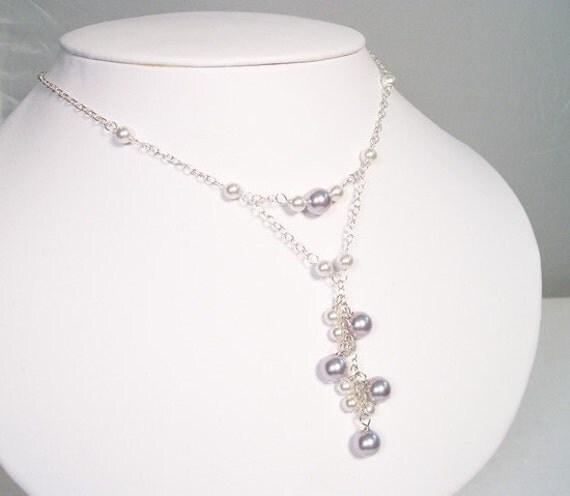 Lavender & White Bridesmaids Necklace Pearl Cluster Pendant Necklace Purple wedding, violet, lilac diamond white, amethyst, grape, plum wine