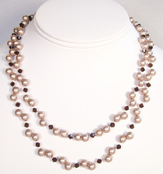 Beige & Brown Illusion Floating Bridesmaids Necklace, 2 strand layered chocolate necklace, coffee, espresso, almond, mocha, cashmere, cocoa