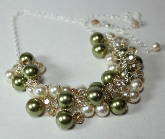 Green, Cream & Champagne Bauble Bib Cluster Necklace, celedon, celery, wintermint, cactus, loden, pine green, dusty shale, sage, moss, toffe