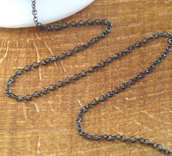 Five Feet of Dark Silver Chain, Oxidized .925 Sterling Cable Chain, 5 Feet, 2mm Cable Chain, Distressed Vintage Thin Chain for Jewelry (17s)