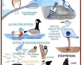 A Guide to the Birds of Portland Oregon print