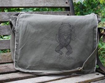 Canvas Messenger Bag - Pretentious Frog Bag - Messenger Bag Men - Frog Gift - Gift for Women