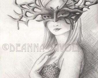 Masked Goddess Art Fantasy ART PRINT Mask Masquerade Pagan Art Wiccan Art 5x7