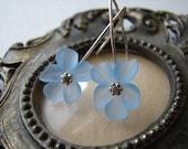 Lucite Flower Earrings - Light Blue Flower Earrings with Sterling Silver