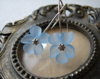 Lucite Flower Earrings - Light Blue Flower Earrings with Sterling Silver