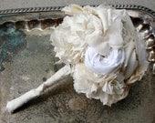 Small Bridal Bouquet - Wedding, Vintage Wedding - Fabric Flower, Fabric Bouquet, Fabric Flower Bouquet, Bouquet