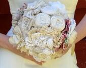 Fabric Bridal Bouquet, Fabric Flower - Wedding, Vintage Wedding - Fabric Bouquet, Bouquet, Fabric Flower Bouquet
