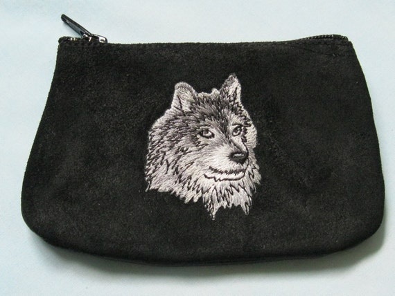 GRAY WOLF  Coin Purse on  Black Leather Suede